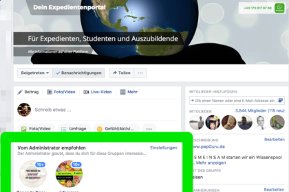 Facebook Gruppe verknüpfen mit PepGuru
